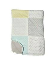 New JUST BORN Baby Patchwork Blanket Aqua Yellow Gray Sherpa STARS Minky... - $28.06
