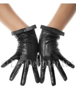 BLACK FLAT BOW LEATHER GLOVES LES DEBUTANTES - $11.99