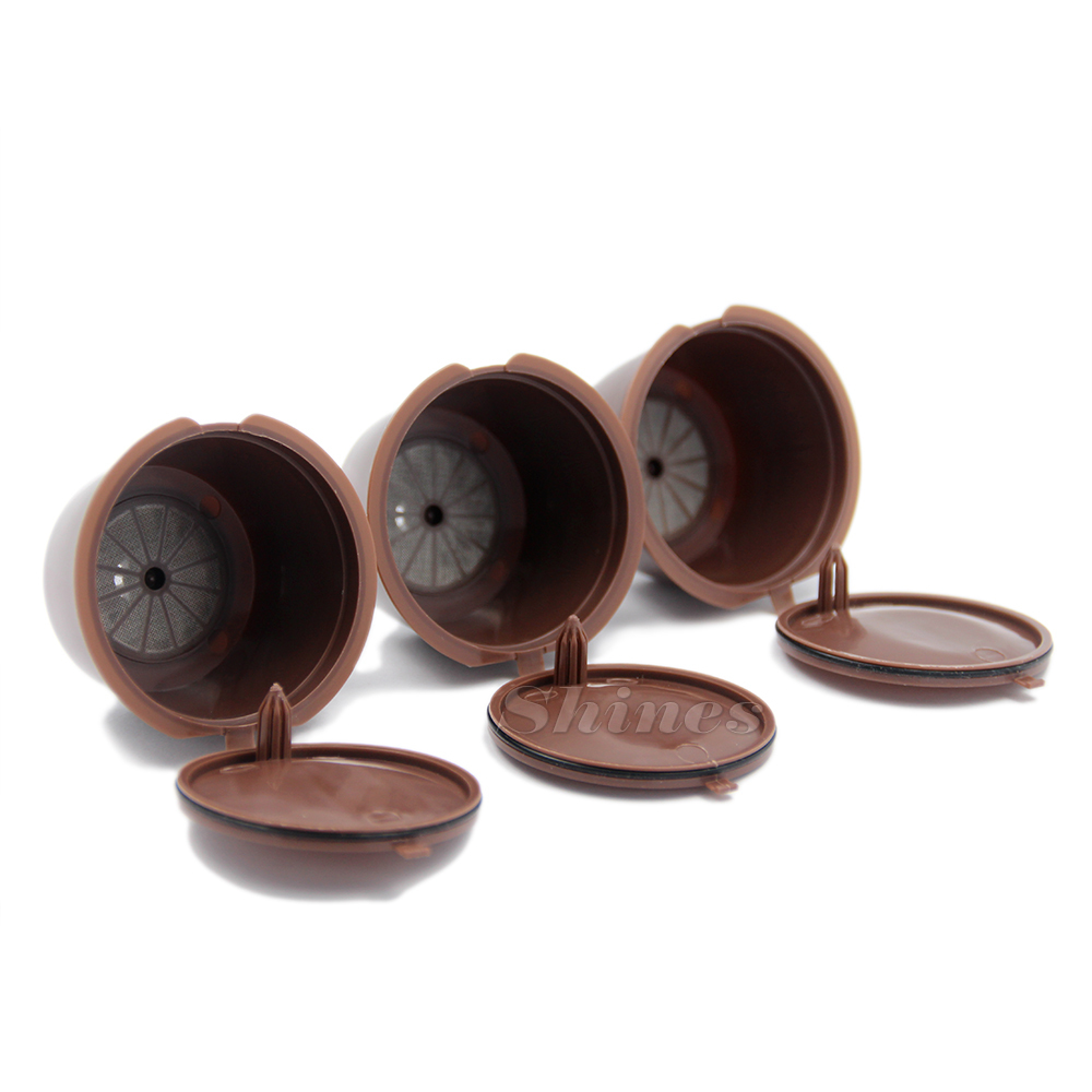 Able refill coffee capsule pod cup filter bracket adapter for nescafe dolce gusto machines brown