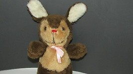 Russ Berrie & CO. Plush Brown tan Bunny rabbit red nose pink bow Vintage... - $9.89