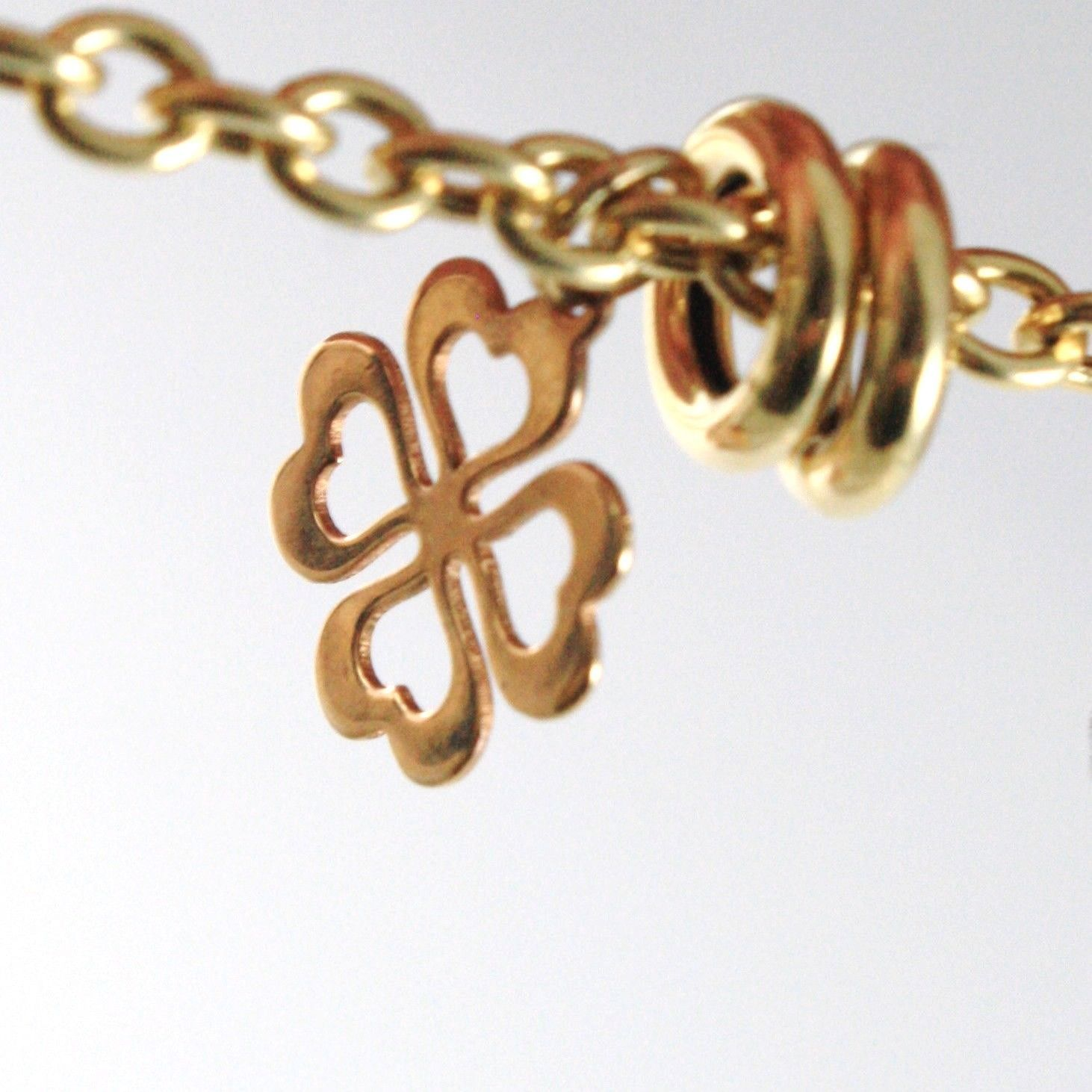 BRACELET YELLOW GOLD WHITE ROSE 18K 750,CIRCLES,FOUR-LEAF CLOVER AND HEARTS,