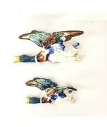 Vintage Pheasant in Flight Wall Pocket Pair Colorful Porcelain Stamped J... - $29.99