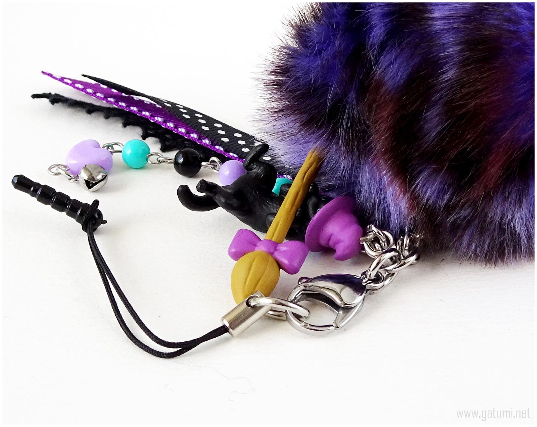 Black Cat Phone Charm with Pom Pom, Halloween, Kawaii Goth, Creepy Cute