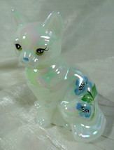 Fenton Sitting Cat Hand Painted Mother of Pearl Blue Solid Glass - $40.19