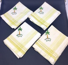 """4 Vintage Linen Embroidered Napkins 11"""" Palm Tree Design Yellow & Green - $18.87"""