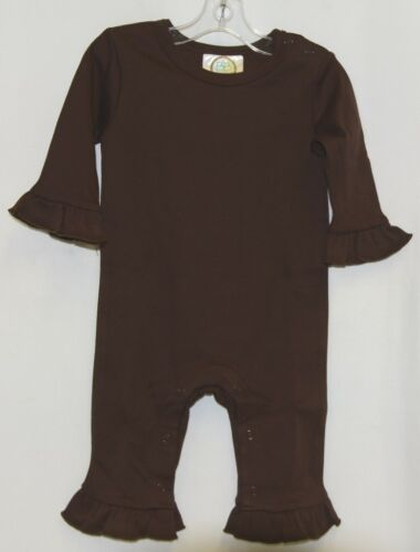 Blanks Boutique Brown Long Sleeve Snap Up Ruffle Romper Size 6M