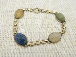 Art Deco Gold Filled Multi Gem Stone Carved Scarab Bracelet Antique - $59.39