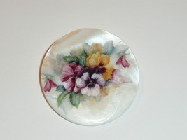"""Pretty Pansies Flowers Button - Mother of Pearl MOP Shank Button 1+3/8"""" - $11.87"""