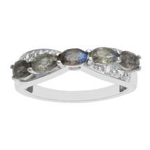 925 Sterling silver statement beautiful labradorite white rhodium ring - $22.85