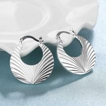V Cut Hoop Earring in 18K White Gold Plated - $12.74