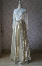 Gold Sequined Maxi Skirt High Waist Full Sequined Wedding Bridesmaid Maxi Skirts image 12