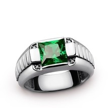 MENS FASHION JEWELRY 18K WHITE GOLD PLATED EMERALD CZ WEDDING RING SIZE ... - $7.99