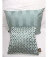 Fieldcrest Luxury Silk Smoke Green 2-PC Basket-Weave and Pleat Pillows - $48.00