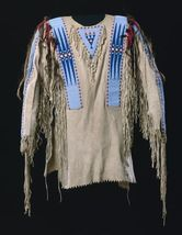 Men Native American Buckskin Beige Buffalo Leather Beaded Powwow War Shirt NA265 - $299.00