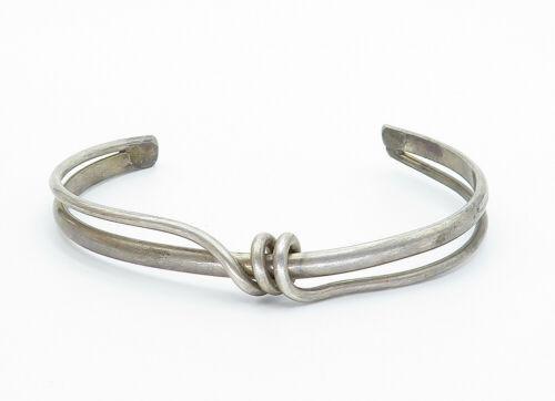 925 Sterling Silver - Vintage Wrapped Detail Split Shank Cuff Bracelet - B5808