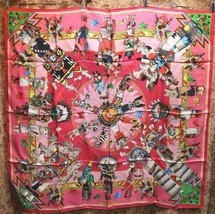 Hermes Scarf Stole Kachinas by Kermit Oliver Ethnic Red Pink Silk New Un... - $668.67