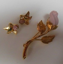 Vintage Signed Avon Gold-tone Dove Earrings w/ Pink Rose & Avon Pink Rose Brooch - $26.72