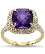 2.96ct 10k Yellow Gold Cushion Amethyst & Diamond Ring - $552.47