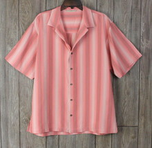 Tommy Bahama Silk Shirt Mens M size Pink Stripe Casual Career Light Vacation  - $23.81