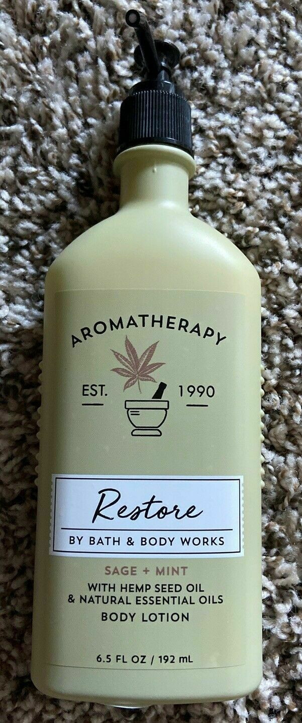 Primary image for Aromatherapy Restore Body Lotion Bath and Body Works, HEMP sage and mint, new 20