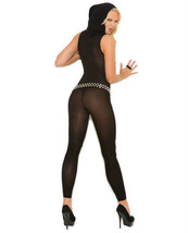 VIVACE OPAQUE HOODED DEEP V FOOTLESS BODYSTOCKING One Size - $14.99