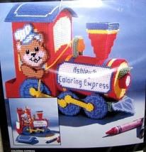 Bucilla Coloring Express Train Bear Crayons Christmas Plastic Canvas Kit... - $27.95