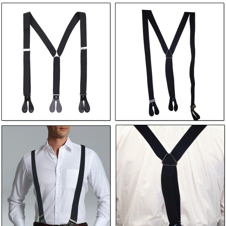 Black Unisex Suspender Braces Adjustable with Button Holes Lycra/Elastane UK