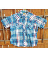 Vtg YOUNGBLOODS Authentic Western Shirt-XL-Blue Plaid-Snap Pearl Button-... - $27.10