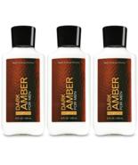 Bath & Body Works Dark Amber For Men Body Lotion 8 fl oz Set Of 3 Bottles - $29.94