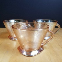 Jeannette Glass Floragold Louisa Square Footed Cup Embossed Iridescent Set of 3 - $11.88