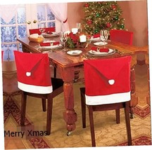 NEW Christmas House Santa Hat Chair Covers Pack of 4pcs - $11.83