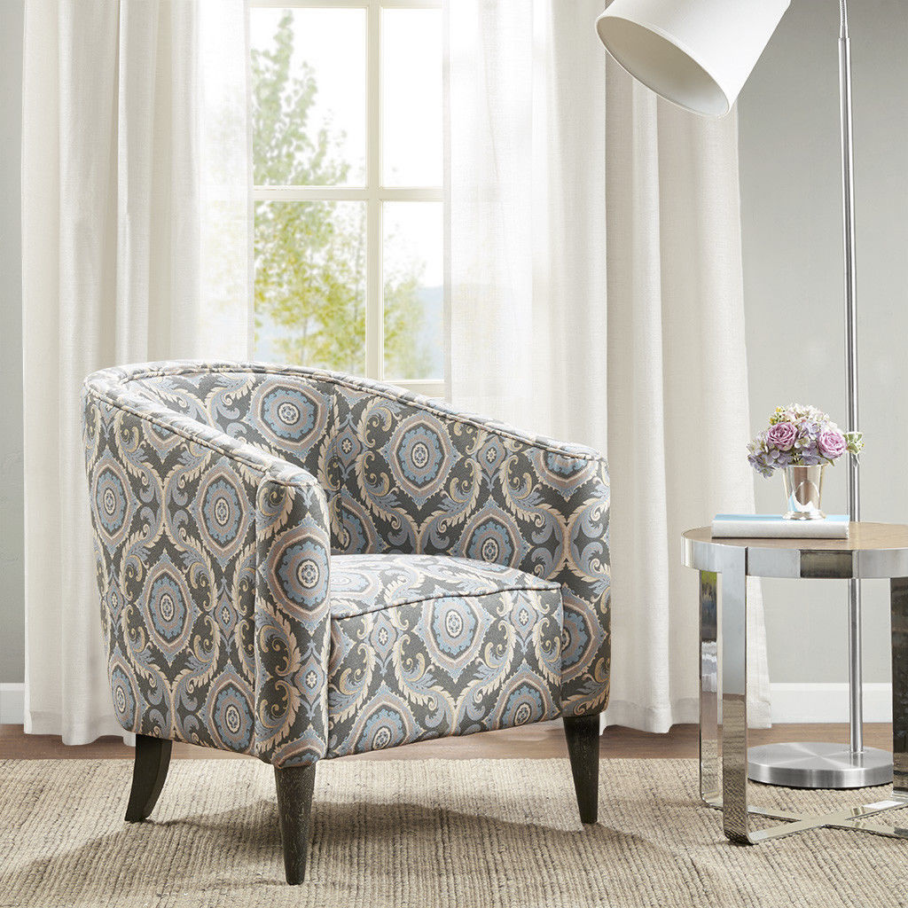 Gray blue ivory medallion upholstered accent chair modern - Gray modern living room furniture ...
