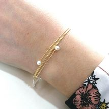 18K YELLOW GOLD MAGICWIRE BANGLE BRACELET, ELASTIC WORKED MULTI WIRES, PEARLS image 3