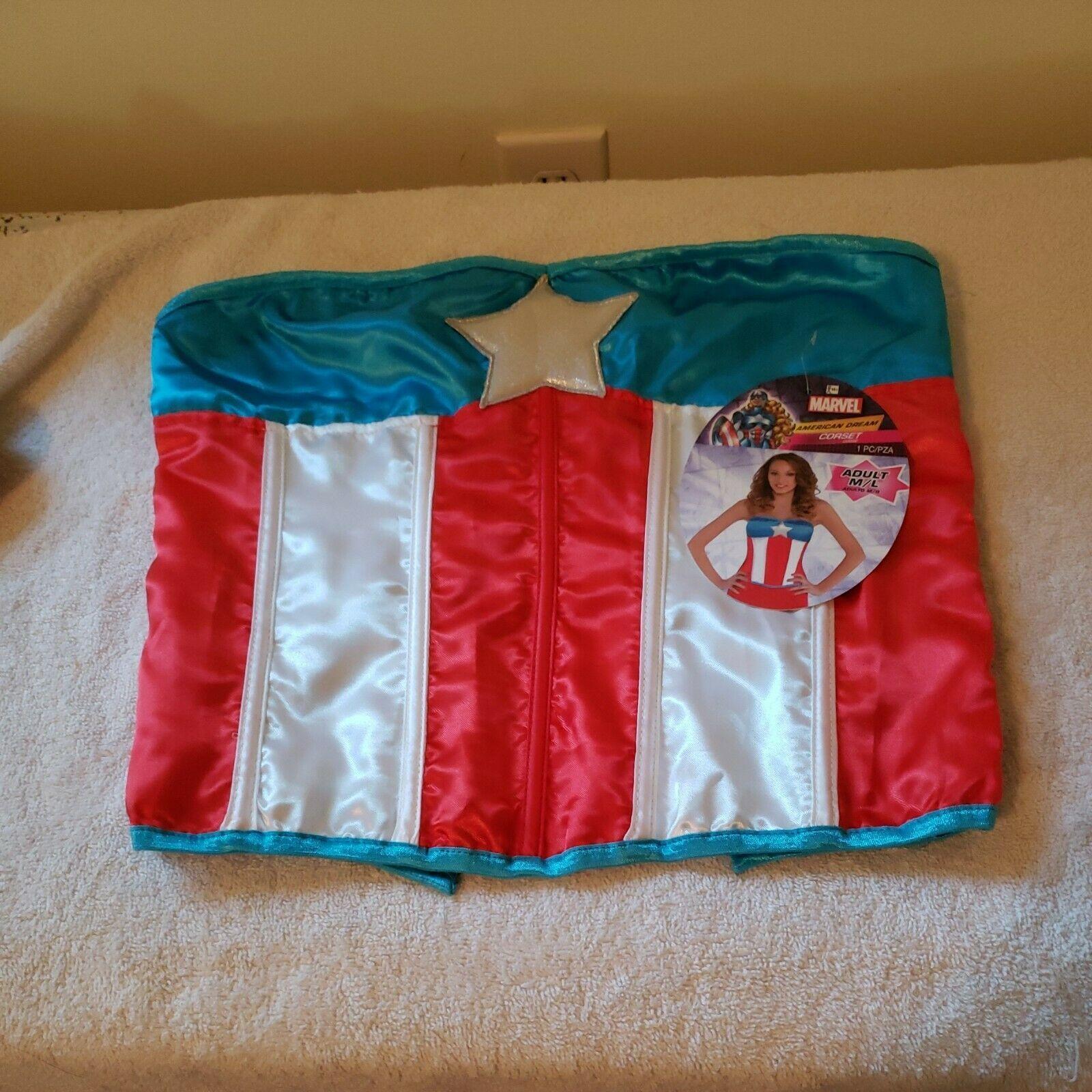 women sexy halloween bustier corset captain America dream USA M/L New - $19.80