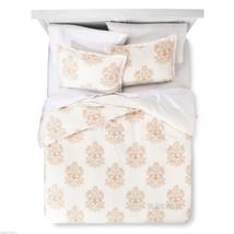 NEW Threshold Trade Medallion Linen Cotton Blend 3 Pc Duvet Cover Set FULL/QUEEN - $79.99
