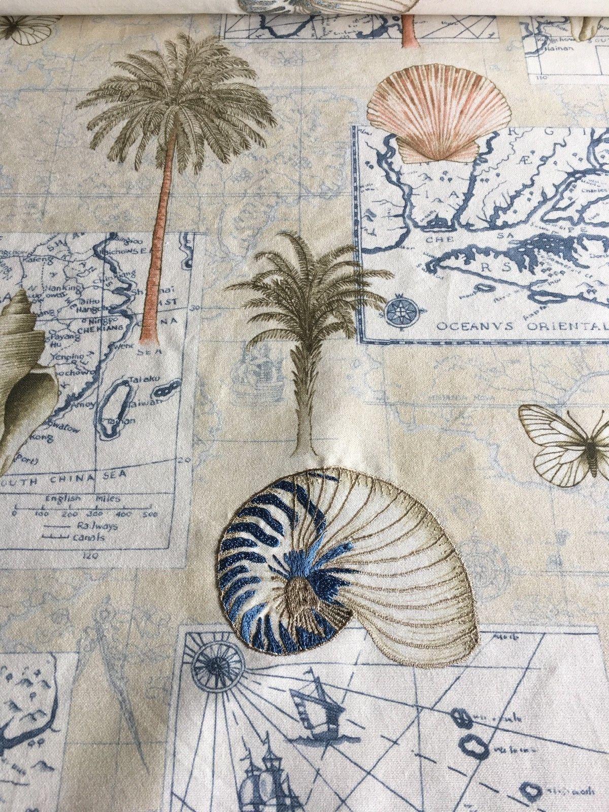 3.5 yds Lee Jofa Upholstery Fabric Plant Seeker Embroidered Beach Print NN
