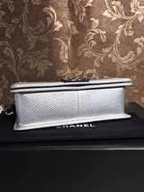 AUTH CHANEL LIMITED EDITION METALLIC SILVER PERFORATED LAMBSKIN MEDIUM BOY BAG  image 4