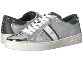 Michael Kors MK Women's Frankie Stripe Leather Sneakers Shoes Silver