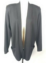 St John Separates Santana Knit Jacket M Black Open Front Made In USA Poc... - $98.99