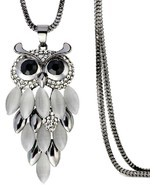 Owl Pendant Necklace Rhinestone Long Sweater Chain 31' Black Plated Love... - €30,32 EUR
