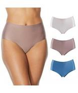 Rhonda Shear 3-pack Antimicrobial Hipster Brief (652684), Mocha/Blue/Pin... - $22.76