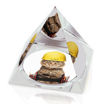 "Construction Kitty Funny Cat Photo Animal Art 2"" Crystal Pyramid Paperwe... - $15.99"