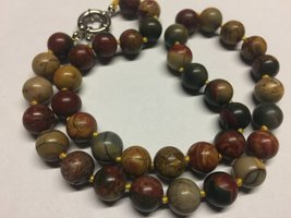 """VTG Hand Knotted 10mm River Jasper Beaded Strand Necklace 18"""" Natural Gemstones - $24.99"""