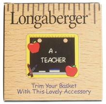 Longaberger Tie On Basket Accessory A+ Teacher Chalkboard Ruler Apples Pattern - $4.95