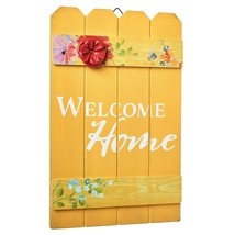 The Pioneer Woman Yellow Welcome Home Sign Wall Art Floral Rustic Picket... - $14.95