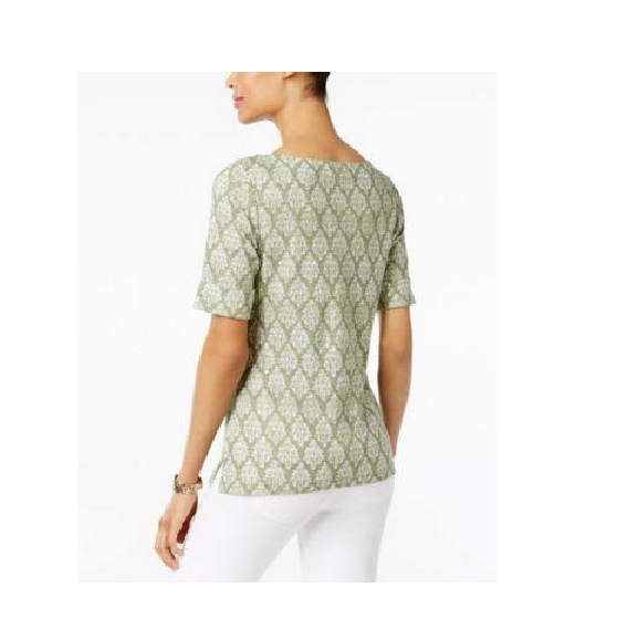 Karen Scott Womens NEW Printed Boat-Neck Top Olive Green Size Small $29