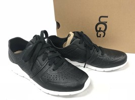 UGG Australia Tye Lace Up Leather Perforated Fashion Sneakers 1092577 Black - $79.99