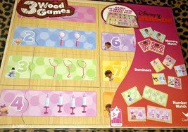 Doc McStuffins Three Wood Games Memory Match Dominoes Number Match - $15.00