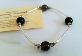 Ice Obsidian/Midnight Lace Obsidian Blessings Bracelet- Clear Black Ston... - $21.00