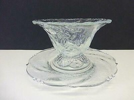 Heisey Orchid Mayonnaise Bowl & Underplate Plate Elegant Etched Crystal ... - $28.49